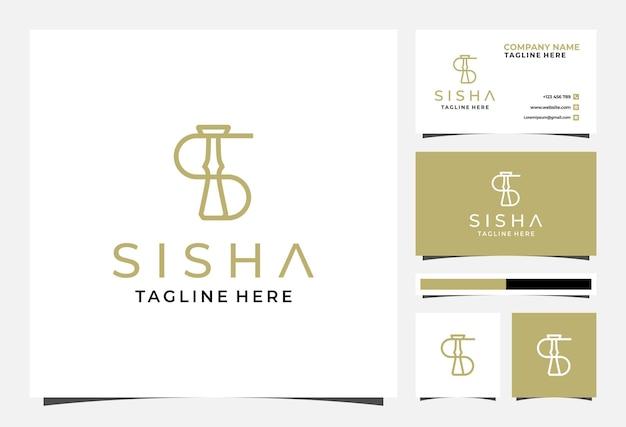 S-buchstabe sisha-logo und visitenkarte