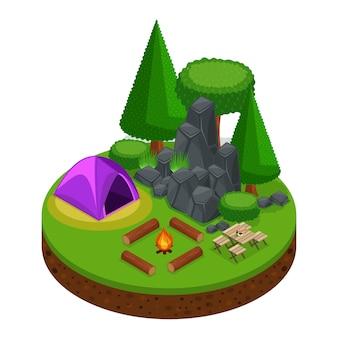 S camping, erholung im freien, natur, see, wald, zelt, lagerfeuer, berge, bäume