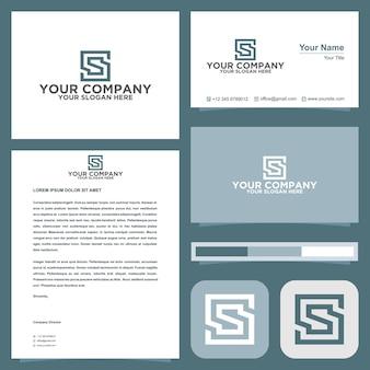 S-logo im quadratischen konzept mit visitenkarte