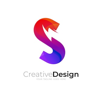 S-logo und donner-designkombination, rote farbe