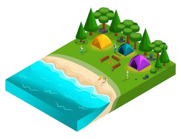 S von camping, erholung von jungen menschen der generation z auf der natur, wald, meer, strand, ufer des sees, flussufer, campingplatz. gesunder lebensstil