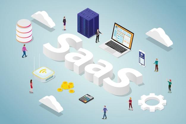 Saas-software als dienstleistungsgeschäftskonzept mit computer-app-website des großen wortes und der serverdatenbank mit isometrischer moderner art