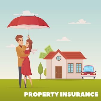 Sachversicherungsdesignkonzept mit jungen familienpaaren unter regenschirm auf hintergrund des hauses und