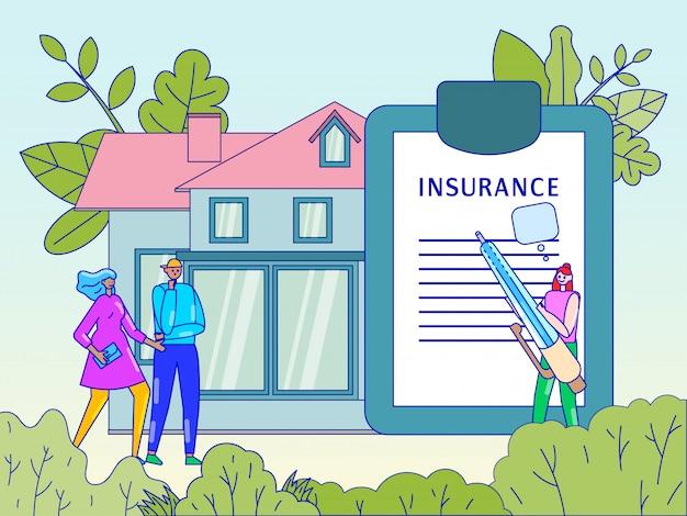 Sachversicherungskonzept, leute, die neues haus kaufen und vertrag mit agent unterzeichnen, illustration