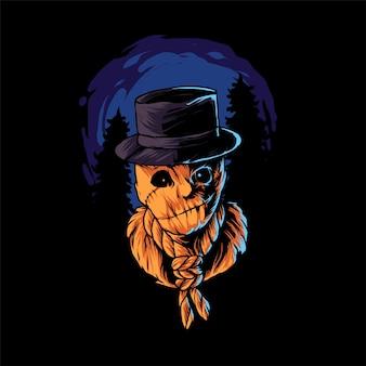 Sack man halloween illustration premium-vektor, perfekt für t-shirt