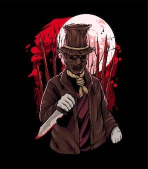 Sack-mann-halloween-illustration. perfekt für t-shirt produkt