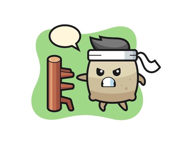 Sackkarikaturillustration als karatekämpfer, niedliches stildesign für t-shirt, aufkleber, logoelement