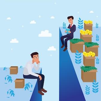 Sad & happy corporate man hat seinen job als vison & mission gemacht und gefeiert, führungserfolg und karrierefortschrittskonzept, flache illustration