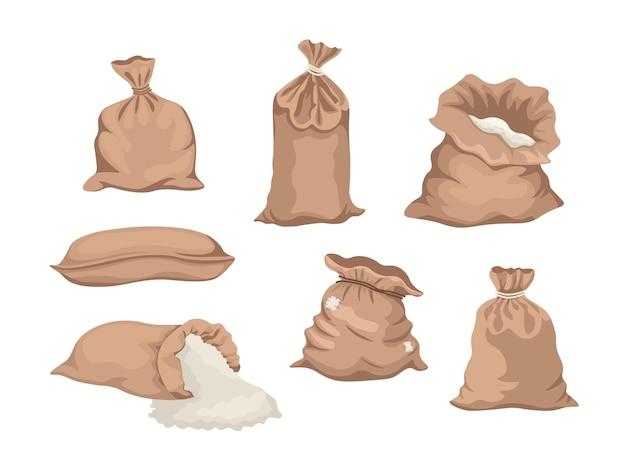 Säcke mit mehl oder säcke mit reis oder salz, landwirtschaftliche produktion in braunen textilballen