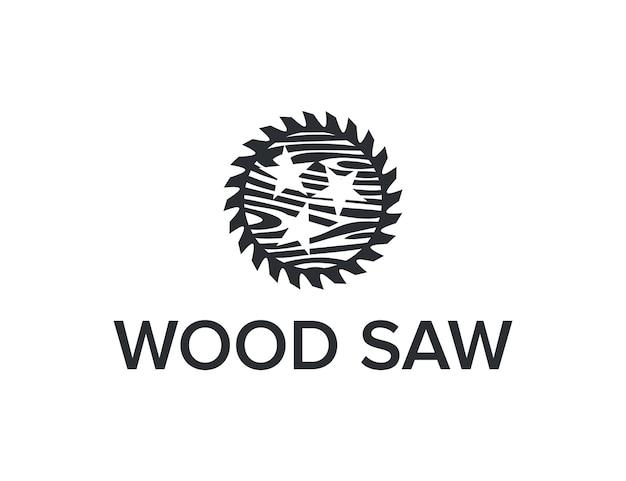 Säge mit holz und sternen einfaches schlankes kreatives geometrisches modernes logo-design