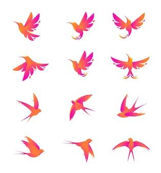 Sätze der modernen silhouette kolibri und schwalbe