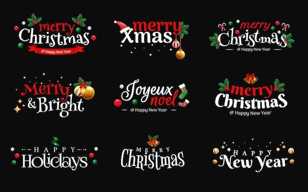 Sätze von weihnachtstypografie