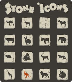 Säugetier-websymbole für das design der benutzeroberfläche