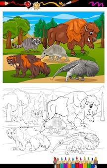Säugetiere tiere cartoon malbuch