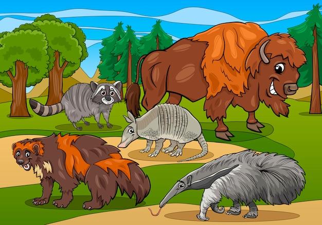 Säugetiertiere karikaturillustration