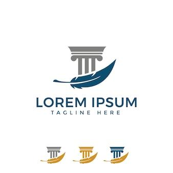 Säule mit feder logo design für law