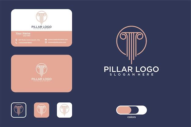 Säulenlogo-designkreis und visitenkarte