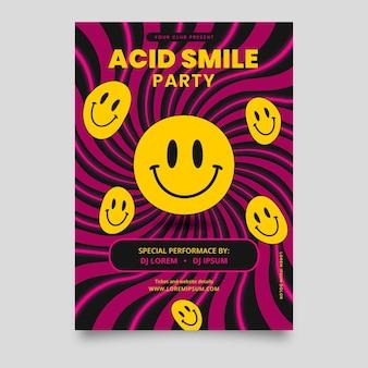 Säure-emoji-plakat des flachen entwurfs