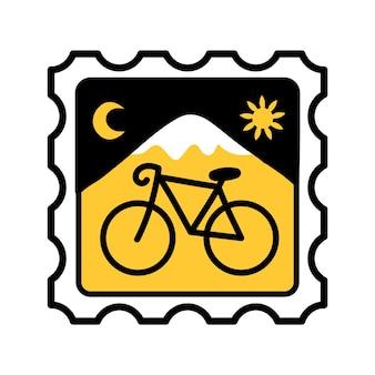 Säure-lsd-papierlöschermarke mit fahrrad. vektor handgezeichnete doodle-stil-cartoon-illustration. trippy acid, lsd-marke, fahrradstempeldruck für t-shirt, poster, kartenkonzept