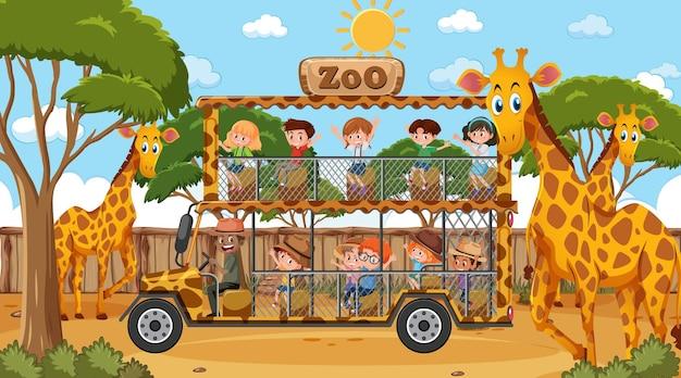 Safari am tag szene mit vielen kindern, die giraffengruppe beobachten