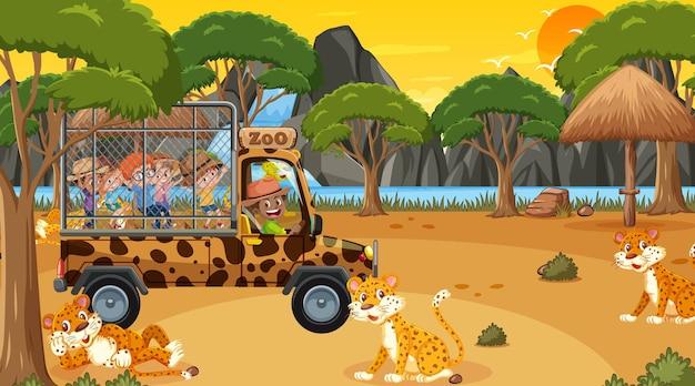 Safari bei sonnenuntergang mit kindern, die eine leopardengruppe beobachten