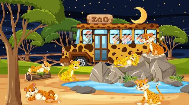 Safari in der nachtszene mit vielen kindern, die eine leopardengruppe beobachten?