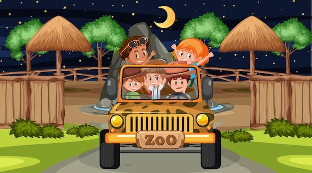 Safari in der nachtszene mit vielen kindern in einem jeep-auto