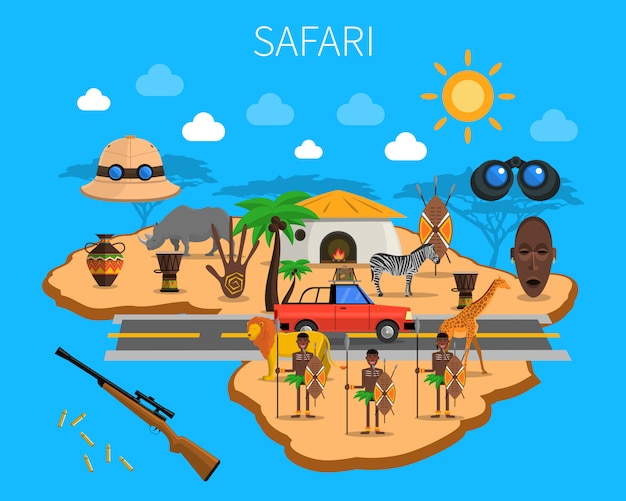 Safari-konzept-illustration