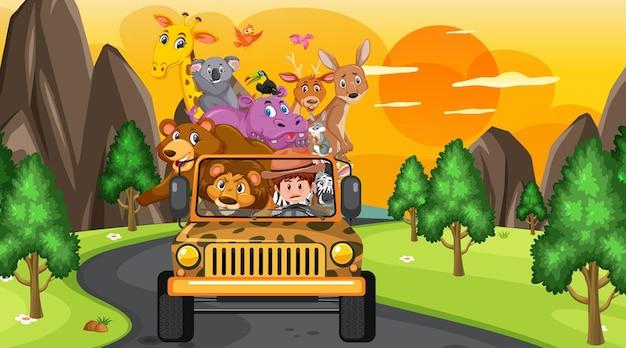 Safari-konzept mit wilden tieren im jeep-auto