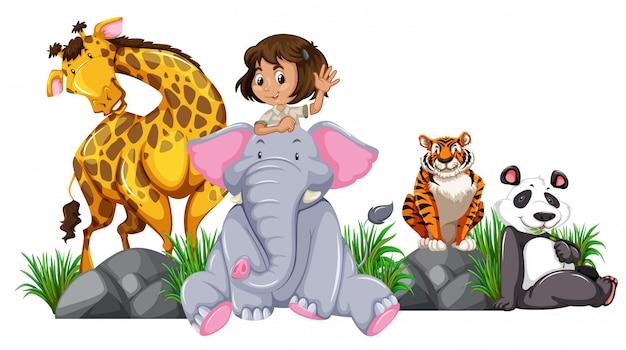 Safari-mädchen mit wilden tieren