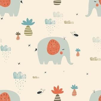 Safari nahtloses muster mit niedlichen elefantenvögeln und tropischen pflanzen kann für den t-shirt-druck verwendet werden