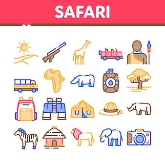 Safari travel collection elements icons set