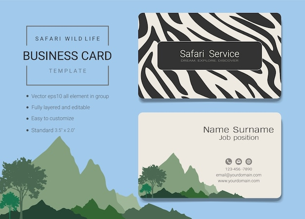 Safari-visitenkarten-vorlage
