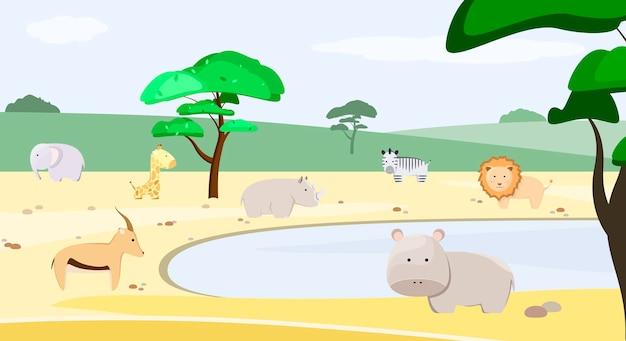 Safarilandschaft mit tieren im cartoon-stil