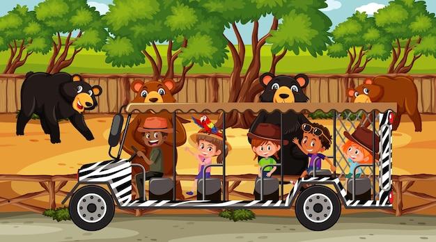 Safariszene mit vielen bären und kindern auf touristenauto