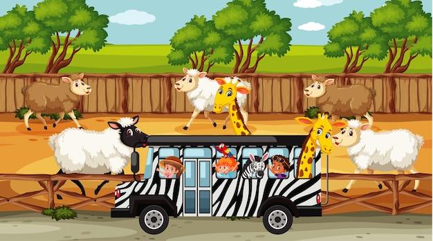 Safariszenen mit vielen schafen und kinderzeichentrickfiguren