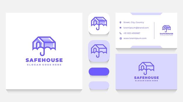 Safe and secured house logo vorlage und visitenkarte
