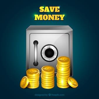 Safe box hintergrund mit münzen