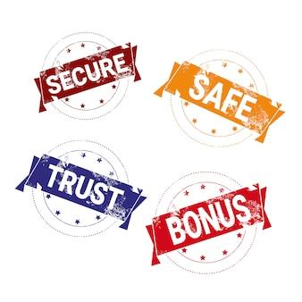 Safe deal stamps set bunte abzeichen isoliert