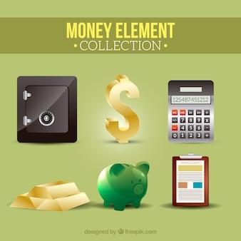 Safe und andere gegenstände von geld Kostenlosen Vektoren