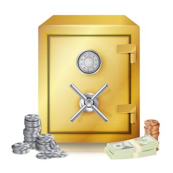 Safe und geldstapel