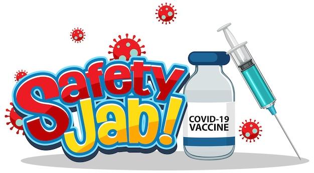 Safety jab-schrift mit spritze und covid-19-impfstoff im cartoon-stil
