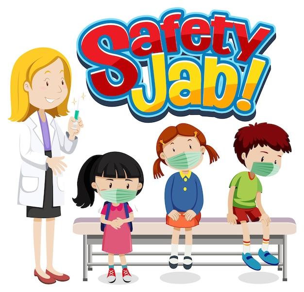 Safety jab-schriftart mit kindern trägt medizinische maske-cartoon-figur