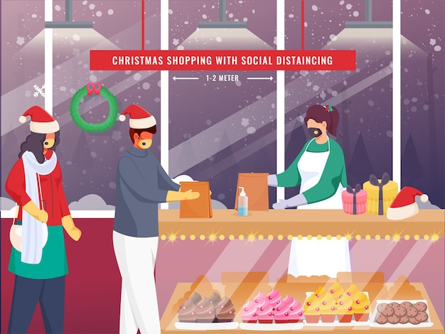 Safley weihnachtseinkauf in der bäckerei aufgrund der corona-pandemie