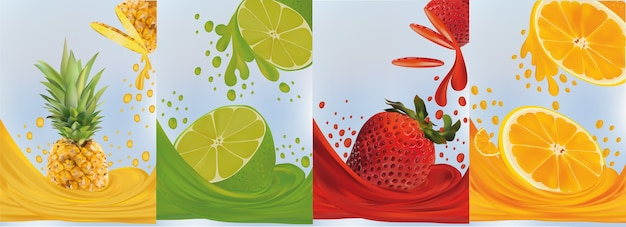 Saft auf süße früchte spritzen. realistische ananas, limette, erdbeere, orange.