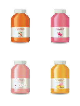 Saft- oder joghurtflaschen stellten ein vektorrealistisches lokalisiert auf weiß. produktpaket designetikett frucht