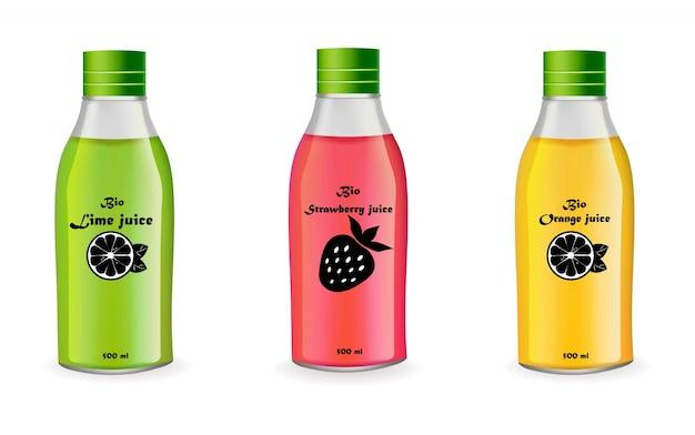 Saftflaschen stellten vektorrealistisch lokalisiert auf weiß ein. produktpaket designetikett frucht