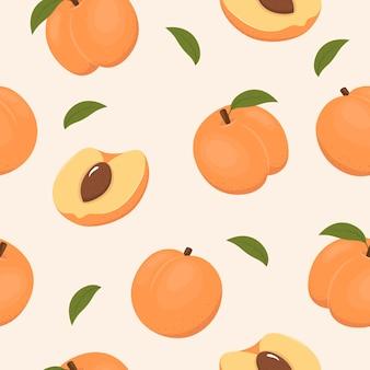Saftige aprikosen auf hellem hintergrund nahtloses fruchtmuster