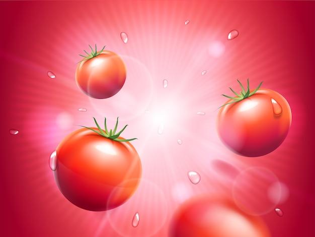 Saftige tomaten mit wassertropfen auf rot