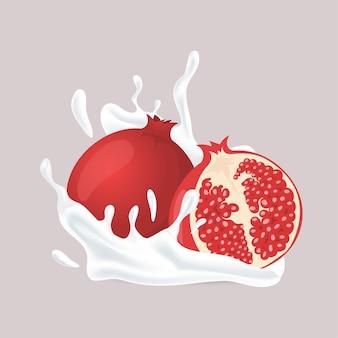 Saftiger granatapfel und spritzer weißer flüssiger cartoon-illustration isoliert